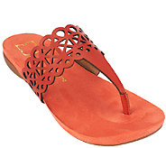 Liz Claiborne New York Leather Sandals with Cut-Out Design - A263703