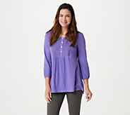 LOGO by Lori Goldstein Knit Top with Button Front Lace Placket - A264603