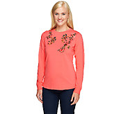 As Is Denim & Co. Perfect Jersey Long Sleeve Top w/ Embroidery - A265103