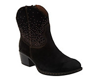 As Is B.O.C. Suede Western Ankle Boots - Ambrosia - A266103