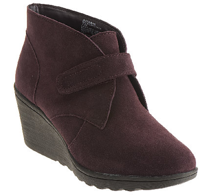 quot as is quot white mountain suede wedge ankle boots w monk