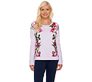 Isaac Mizrahi Live! Engineered Floral Printed Sweatshirt - A268403