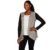 LOGO by Lori Goldstein Drape Front Sweater Knit Cardigan - A268903