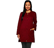 Susan Graver Textured Knit Long Sleeve Zip Front Long Jacket - A269303