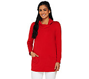 As Is Susan Graver Brushed Back Knit Fold Over Neck Top - A269703