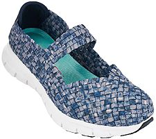 """As Is"""" Skechers Woven Mary Janes with Memory Foam - Good Vibes"""
