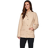 Dennis Basso Lightweight Water Resistant Quilted Jacket w/ Stand Collar - A274903