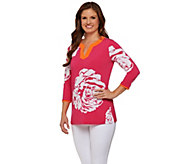 Susan Graver Printed Liquid Knit Split Neck 3/4 Sleeve Tunic - A275203