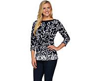 Susan Graver Printed Liquid Knit 3/4 Sleeve Top - A277803