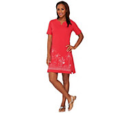 As Is Quacker Factory Short Sleeve Embroidered Dress - A278503