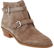 Franco Sarto Suede Ankle Boots w/ Buckle Detail - Rynn
