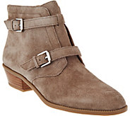 Franco Sarto Suede Ankle Boots w/ Buckle Detail - Rynn - A281303