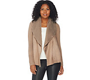 H by Halston Faux Shearling and Sweater Knit Open Front Cardigan - A284103