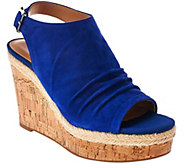 As Is Franco Sarto Suede Ruched Open-toe Wedge Sandals - Trellis - A285503