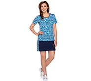 As Is Denim & Co. Active Printed Top and Skort Set - A286203