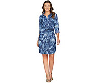 Isaac Mizrahi Live! TRUE DENIM Floral Print Shirt Dress - A287103