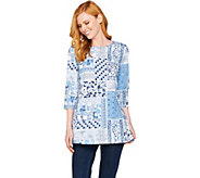 Denim & Co 3/4 Sleeve Patchwork Print Tunic Top with Side Slits - A288303