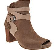 Earthies Suede Peep-toe Block Heel Booties - Santo - A296203