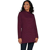 Denim & Co. Brushed Heavenly Jersey Striped Mock Neck Tunic - A300803