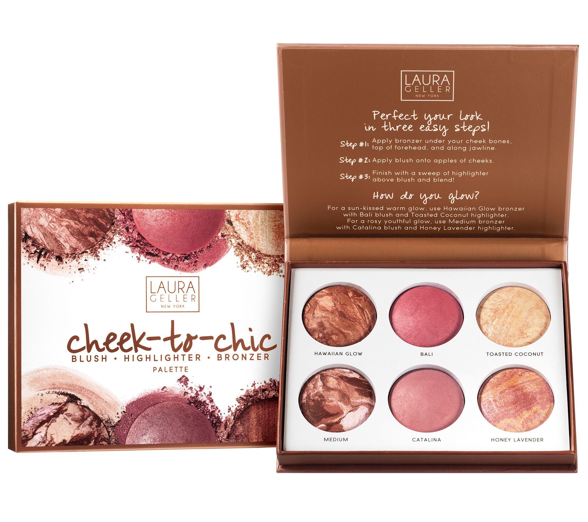 Laura Geller Cheek To Chic Blush, Highlight, &Amp; Bronze Palette by Qvc