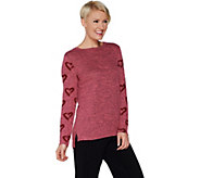 AnyBody Loungewear Brushed Hacci Printed Sleeve Top - A302303