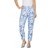Isaac Mizrahi Live! Petite Brushed Sateen Printed Pull-On Ankle Pants - A302403