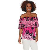 Susan Graver Printed Liquid Knit Top with Chiffon Overlay - A306503