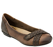 Earth Leather Slip-on Shoes w/ Strap Details -Monarch - A338103