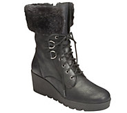 A2 Heel Rest Faux Fur Lace-up Ankle Boots - Color Range - A338403