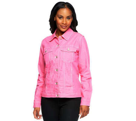Denim & Co. Stretch Colored Denim Jean Jacket