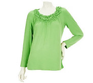 Susan Graver Stretch Knit Top with Smocked Neckline - A216904