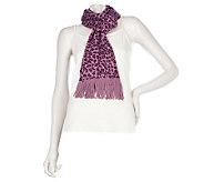 Amiee Lynn Leopard Print Acrylic Knit Scarf with Fringe - A217204