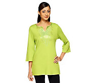 Quacker Factory Square Sequin Starburst 3/4 Sleeve Tunic - A224404
