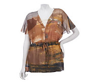 Kelly by Clinton Kelly Printed Scarf Top with Waist Detail - A225204