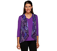 Bob Mackies Animal Print Georgette Vest and T-shirt Set - A226904