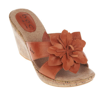 B O C By Born Fortune Leather Slide Wedge Sandals With