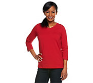 As Is Denim & Co. Essentials Stretch 3/4 Sleeve V-neck Top - A235904