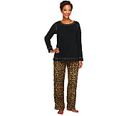 Stan Herman Petite Novelty Print Micro Fleece 2-Pc Lounge Set - A238704