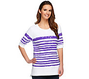 Denim & Co. Active French Terry Painterly Stripe Top - A252804