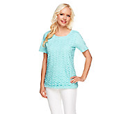 Denim & Co. Perfect Jersey Lace Front Short Sleeve Knit Top - A254804