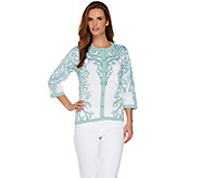 Bob Mackies Button Front 3/4 Sleeve Printed Cardigan - A255504