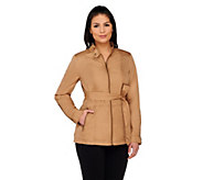Dennis Basso Water Resistant Jacket with Tab Neck and Belt - A262604
