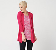 Susan Graver Liquid Knit Cardigan & Printed Tunic Set - A263004