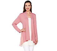 LOGO by Lori Goldstein Open Front Knit Cardigan with Chiffon Details - A263304