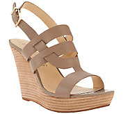 Sole Society Leather Wedges w/ Strap Detail - Jenny - A265504