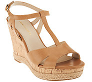 Franco Sarto Leather T-strap Wedges - Swerve - A265604