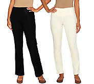 Women with Control Petite Tummy Control Boot Cut and Ankle Pants Set - A266904