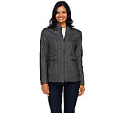 Susan Graver Faux Leather Zip Front Jacket - A268804