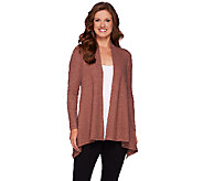 LOGO by Lori Goldstein Thermal Knit Open Front Cardigan - A268904