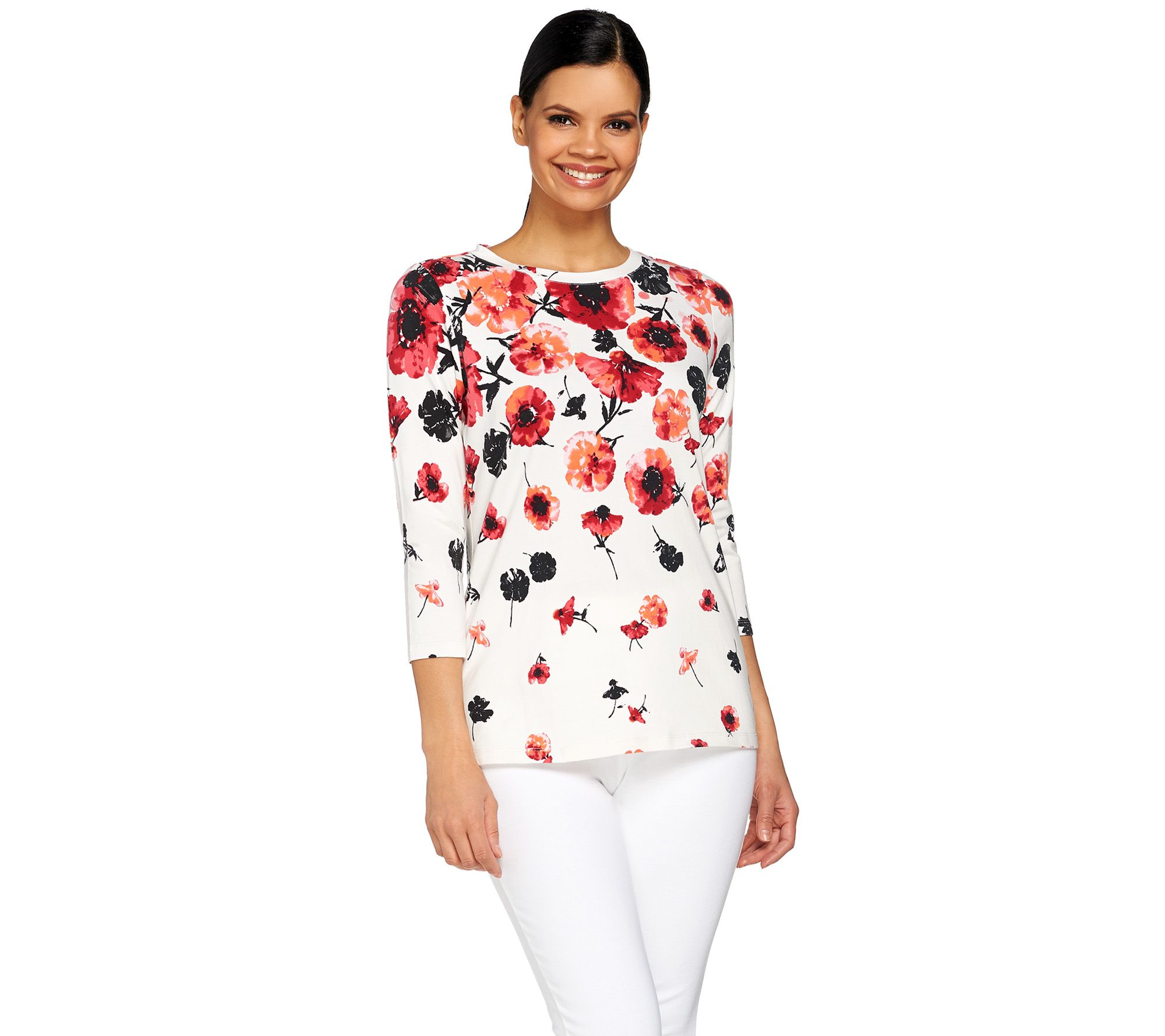 Isaac Mizrahi Live! Engineered Tossed Floral 3/4 Sleeve Top